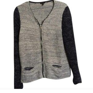 Talbots Tweed Zip Up Jacket sweater gray womens M